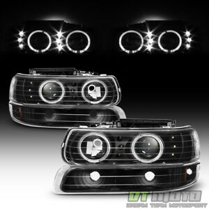 1999 2002 Chevy Silverado 00 06 Suburban Led Halo Headlights Bumper Signal Lamps