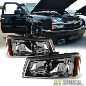 Black 2003 2006 Chevy Silverado 1500 2500 3500 Avalanche Headlights Front Lamps