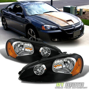 Black 2003 2005 Dodge Stratus Coupe Headlights Headlamps Replacement Left Right