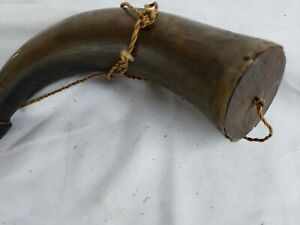 Antique Powder Horn Made Into Flask Condition Issues