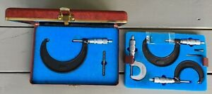 Vintage Central Tool Co 4 Piece Micrometer Set With Case