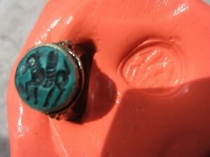 Authentic Medieval Silver Ring With Seal Of Pegasus Wearable 1000 Year Old