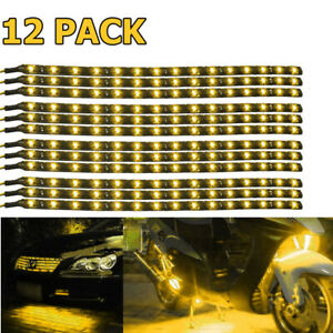 12x 12 15 Led Flexible Truck Car Motor Strip Light Lamp Waterproof 12v Yellow