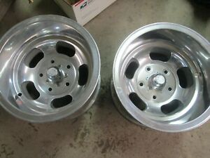Pair Of 15x10 Ansen Sprint Slot Mag Wheels Vintage Old Ford 5 1 2 Bolt Pattern