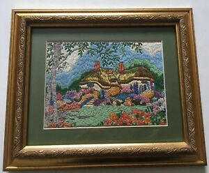 Pretty Vintage Hand Embroidered Picture English Cottage Country Garden Framed