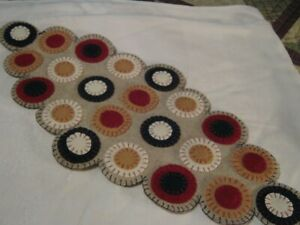 Primitive Wool Applique Americana Layered Pennies Penny Rug Candle Table Mat