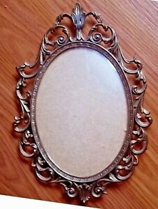 Large Vtg Ornate Metal Brass Made In Italy Oval Picture Frame W Convex Glass