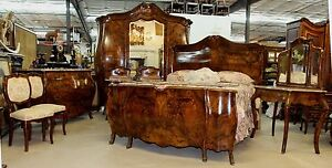 Antique Country French Bombay Burl Walnut 8 Piece Bedroom Set Queen Bed C1880