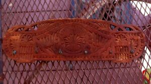 Beautiful Antique Ornate Chip Carved Victorian Wooden Hanging Cup Or Tie Rack