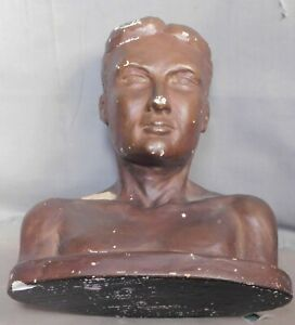 Vintage Mid Century Modern Semi Nude Shirtless Male Boy Man Sculpture Bust Young