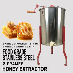 2 4 Frames Manual Honey Extractor Stainless Steel Beekeeping Hive Equipment A
