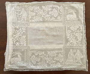 Antique Valenciennes Lace Courting Couple Deer Crochet Edging Pillow Cover