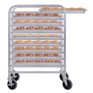 10 Sheet Aluminum Bakery Rack Rolling Commercial Cookie Bun Pan Kitchen Home Us
