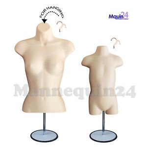 2 Flesh Forms Female Torso Toddler Body Mannequins 2 Stands 2 Hangers