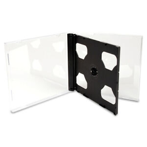 10 4mm Double Clear Cd Dvd Jewel Cases With Black Tray Standard Size Hold 2 Disc
