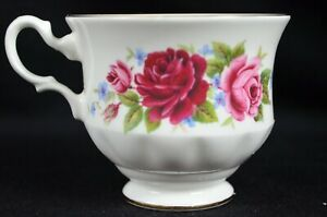 Queen Anne Bone China Red Pink Floral Tea Cup Made In England