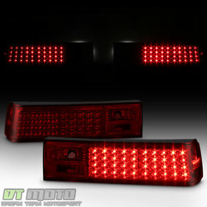 1987 1993 Ford Mustang Red Smoked Led Tail Brake Lights Lamps Left Right Pair