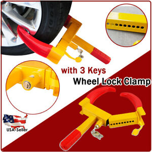 3key Wheel Tire Lock Clamp Parking Boot Anti Theft Auto Car Truck Trailer Suv Rv