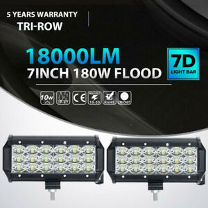 Tri Row 7 Inch 180w Led Work Light Bar Flood Driving Offroad Tractor 4wd Suv 2x