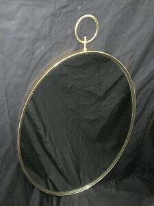 Tommi Parzinger Style Oval Wall Mirror Brass Mid Century Modern