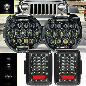 7inch 150w Round Led Headlight Drl Rear Tail Light For Jeep Wrangler Jk 07 18
