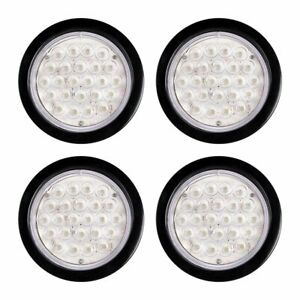 4pcs 4 Round 24 Led Truck Trailer Backup Reverse Tail Light White Clear Lens