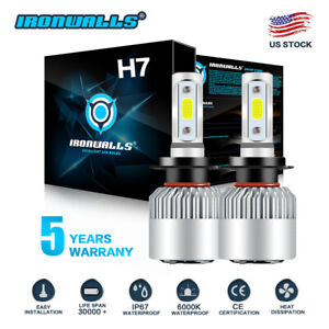 2x H7 Led Headlight Kit 2000w 300000lm High Low Beam Bulb Cree 6000k Lamp White