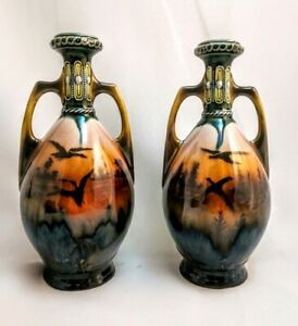 Antique Pair Of 19th Century Lustre Vases With Handles 8 25 Tall