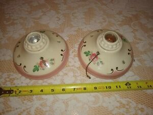 Vintage Set Pair Matching Porcelain Ceiling Pull Chain Light Fixtures Pink Roses