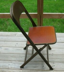 Vintage Metal And Wood Folding Chair Made By Clarin Mfg Co Chicago Illinois F