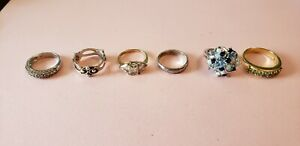 6 Piece Vintage Signed 925 Sterling Silver Ring Lot Not Scrap 22 3g Rings