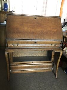 Antique Globe Wernicke Tiger Oak Stack Bookcase Desk Combo Lots Of Tiger