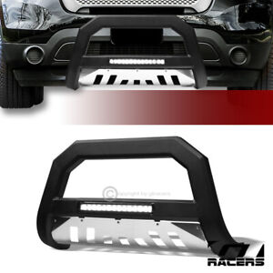 For 2011 2018 Ford Explorer Matte Black Ss Skid Avt Aluminum Led Bull Bar Guard