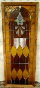 Antique Large Leaded Stained Glass Window Panel 32 5 X 85 Or 7 Feet 1900