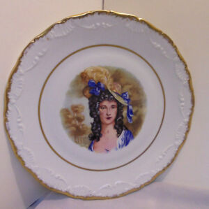 Limoges France Plate Charger Lady Hat Feathers Trees 10 75 Across Vintage