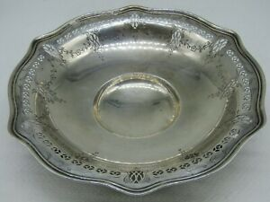 Vintage Frank M Whiting Co Sterling Silver Floral Etched Footed Bowl Dish 9052