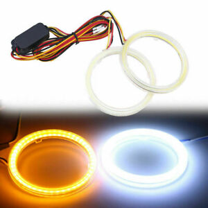 70mm Led Cob Angel Eyes Headlight Halo Ring Drving Lamp Turn Signals Universal