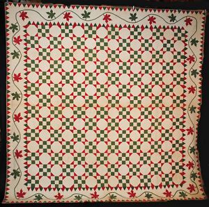 1850s Quilt Appliqued Sawtooth And Maple Leaf Border Heavily Hand Quilting