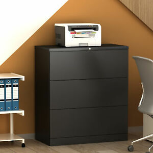 35 l Metal Lateral File Cabinet With Lock Drawers Black Anti tilt Structure