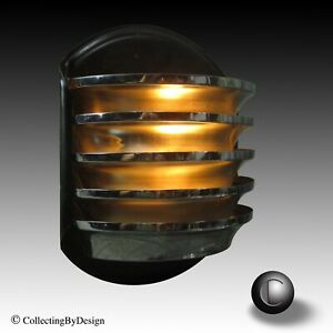 Machine Age Art Deco Chrome Louvered Wall Sconce Light C 1934 Restored