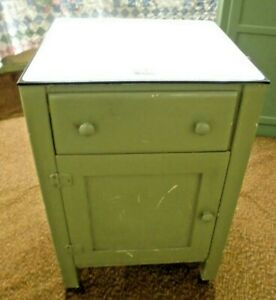 Enamel Top Country Kitchen Pantry Cupboard Utensil Drawer Coverall 1 Door 1 Drwr
