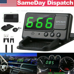 Head Up Display Hud Gps 12v Digital Led Speedo Speed Warning Car Bus Van Pickup