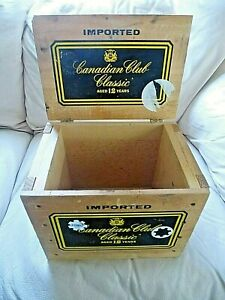 Vintage Wood Shipping Box Crate Canadian Club Classic 12 Hidden Case