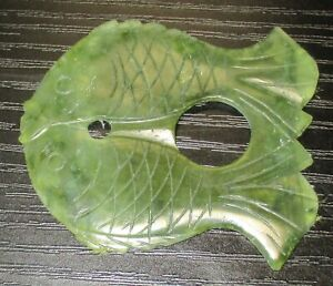 Chinese Fish Shape Spinach Green Jade Medallion Pendant