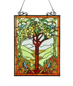 Tiffany Style Stained Glass Window Panel 18 X 25 Tree Of Life One This Price