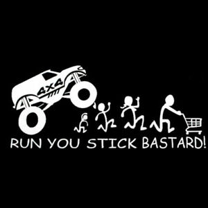 1x White Auto Off Road Run You Stick Bastard Emblems Car Sticker Funny Truck Utv