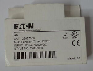 Eaton Time Delay Relay For Ingersoll Rand Air Compressor Style No 22837058
