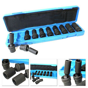 10pc 3 8 Dr 10mm 19mm 6pts Metric Universal Swivel Deep Impact Socket Set Mm