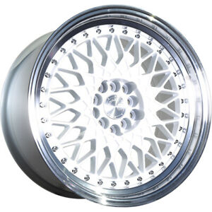 16x8 White Aodhan Ah05 Wheels 4x100 4x4 5 15 Fits Ford Mustang 4 Lug Only