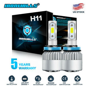 H8 H9 H11 2000w 300000lm Led Headlight Bulbs Conversion Kit 6000k White Ironwall